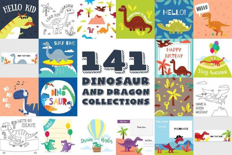 141 Dinosaur Cartoon Clipart Bundle - cover