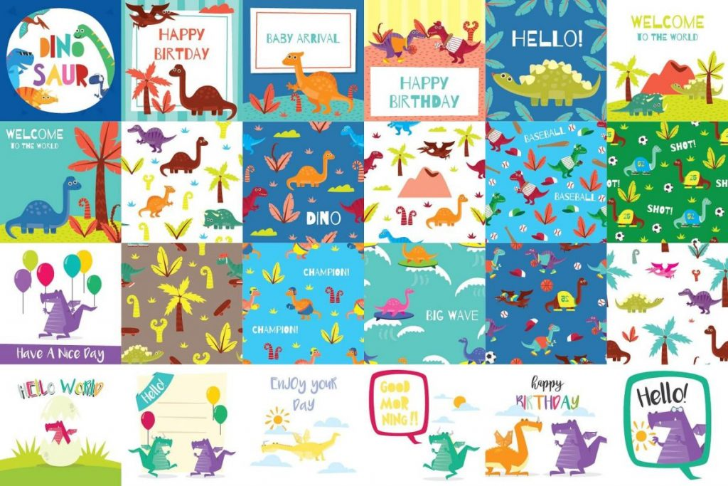 141 Dinosaur Cartoon Clipart Bundle - dinosaur cartoon