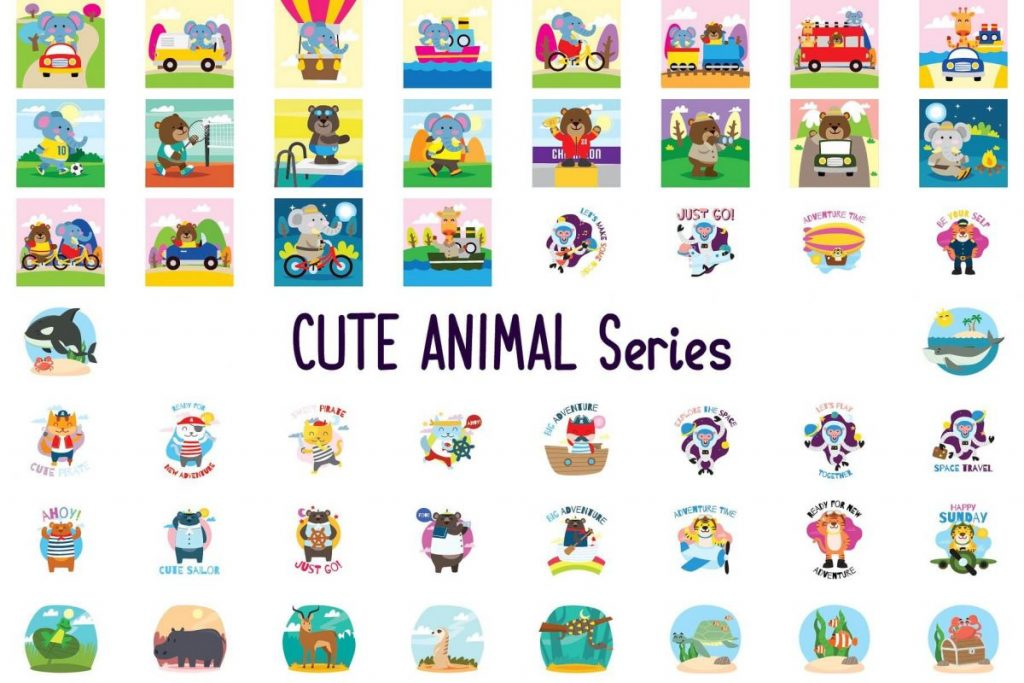 150 Cute Animals Clipart - cartoon animals