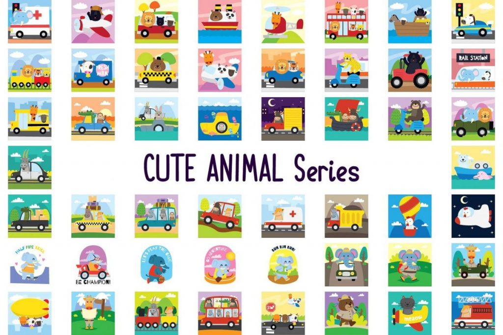 150 Cute Animals Clipart - cartoon animals 3