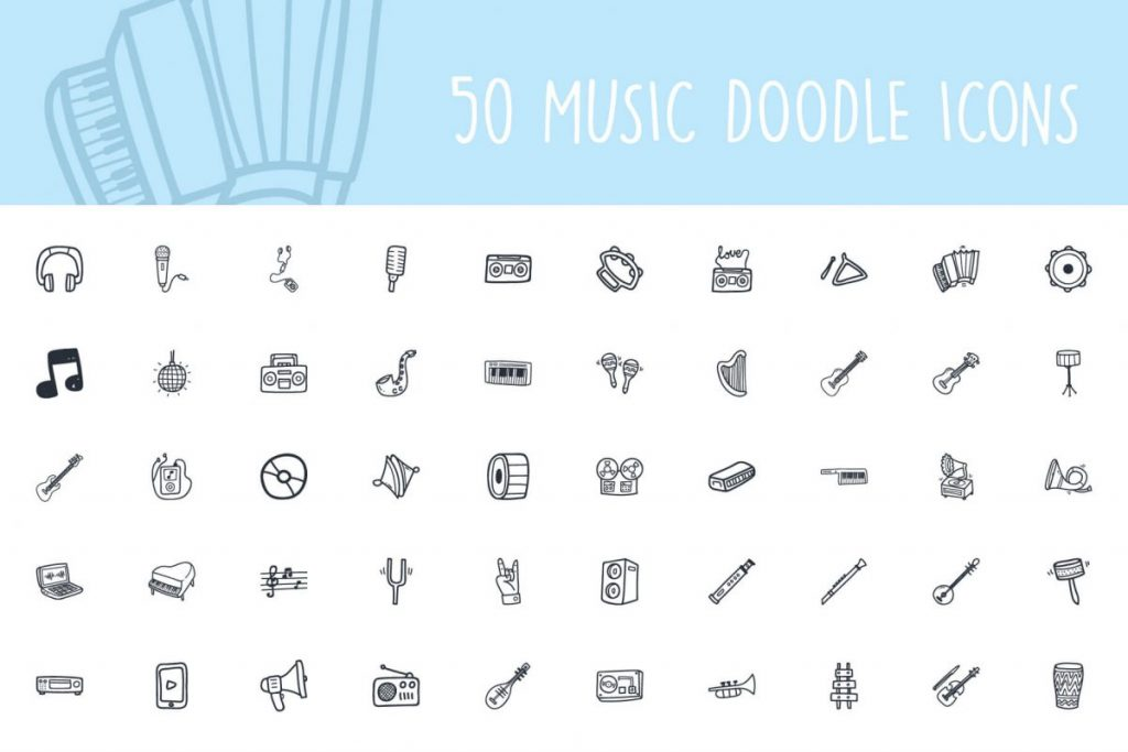 200 Hand drawn Icon pack - 50 Music Icon pack