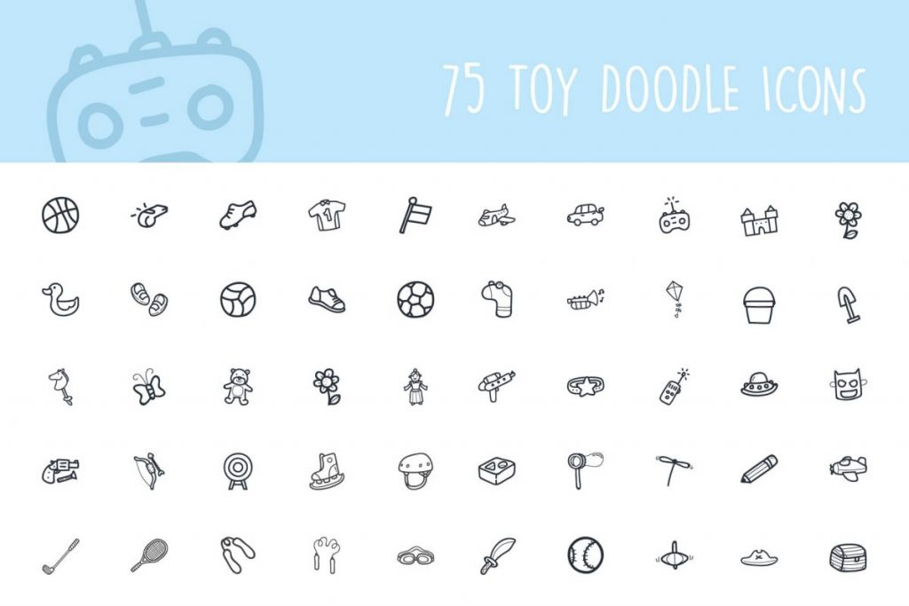 200 Hand drawn Icon pack - 75 Toy Icon pack