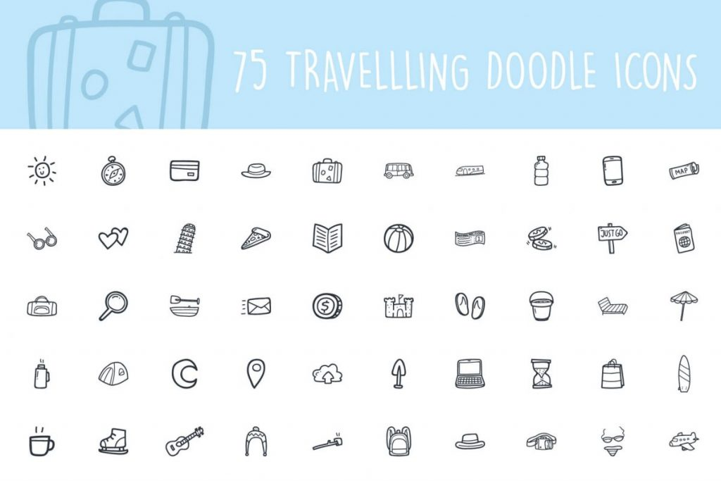 200 Hand drawn Icon pack - 75 Travel Icon pack