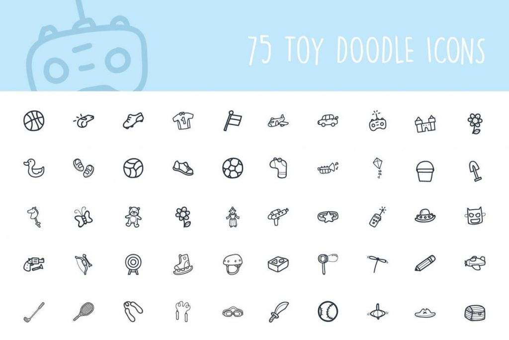 200+ Trendy Thin Hand Drawing Line Icon Pack - toy icon