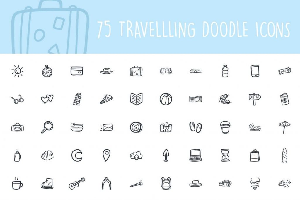 200+ Trendy Thin Hand Drawing Line Icon Pack - travel icon