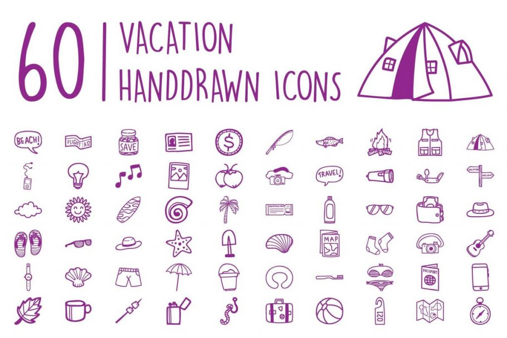 200 Ultimate Hand Drawn Camping Icon Pack