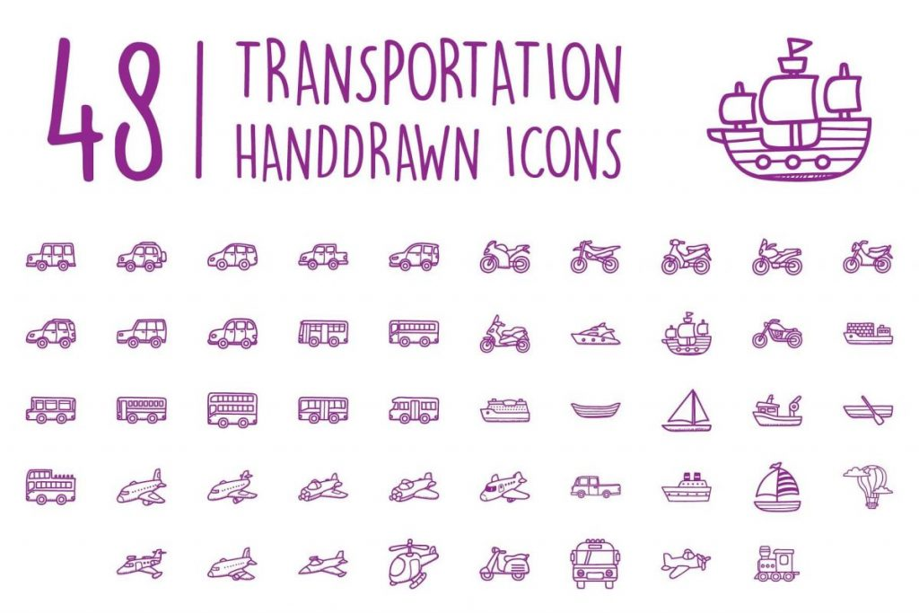 200 Ultimate Hand Drawn Car Icon Pack