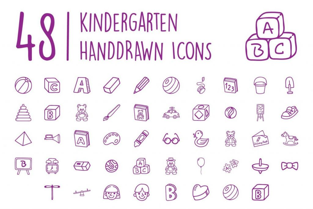 200 Ultimate Hand Drawn Kids Icon Pack