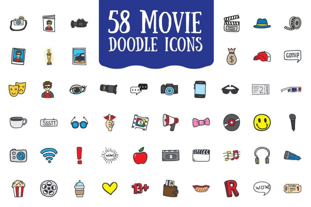 200 Vibrant Doodle Icon Pack - Movie icon