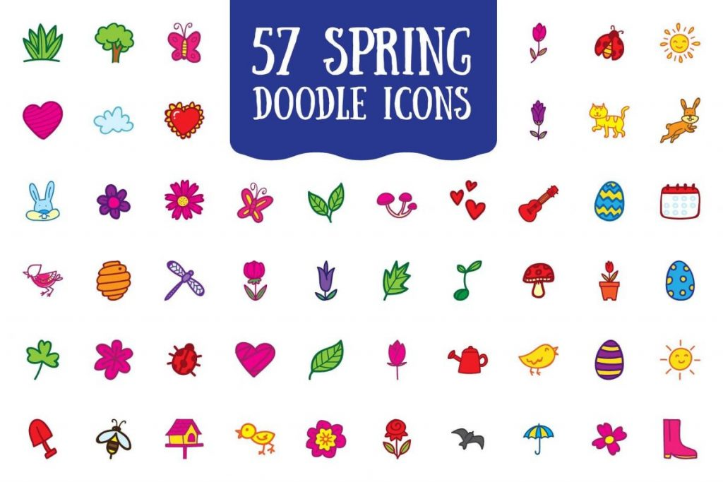200 Vibrant Doodle Icon Pack - Spring icon