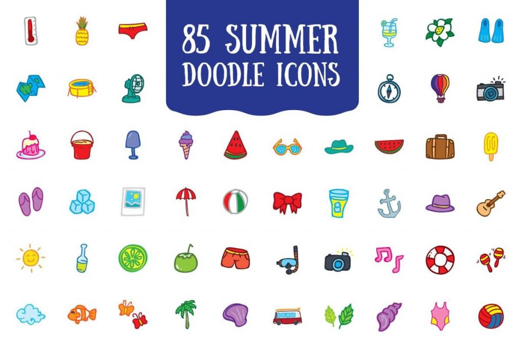 200 Vibrant Doodle Icon Pack - Summer icon