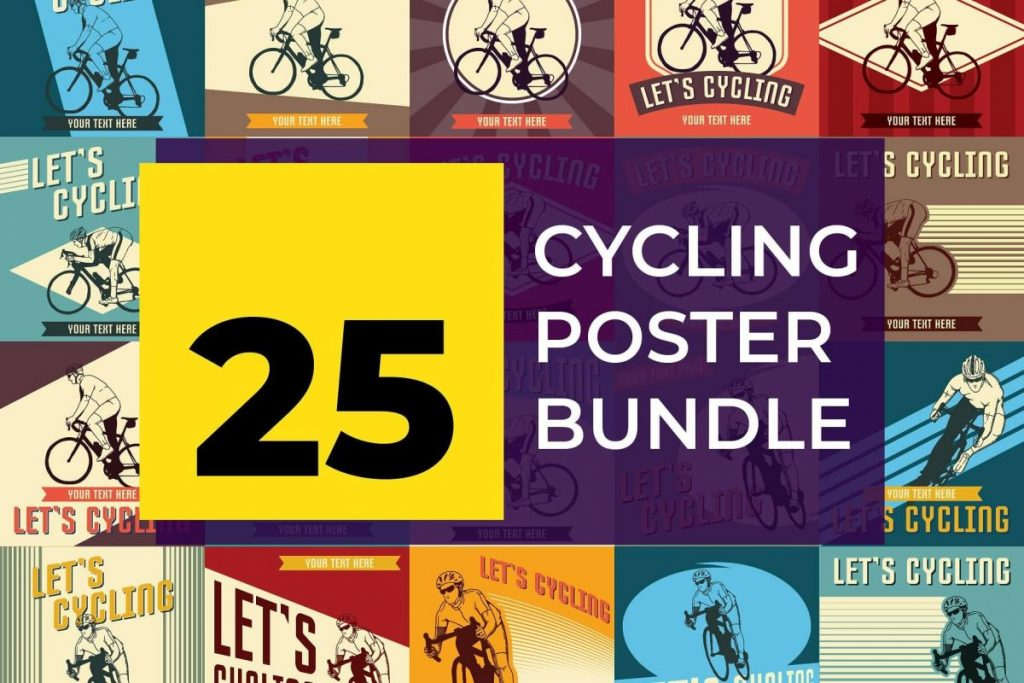 25 Artistic Illustration Poster design Template - cycling posters