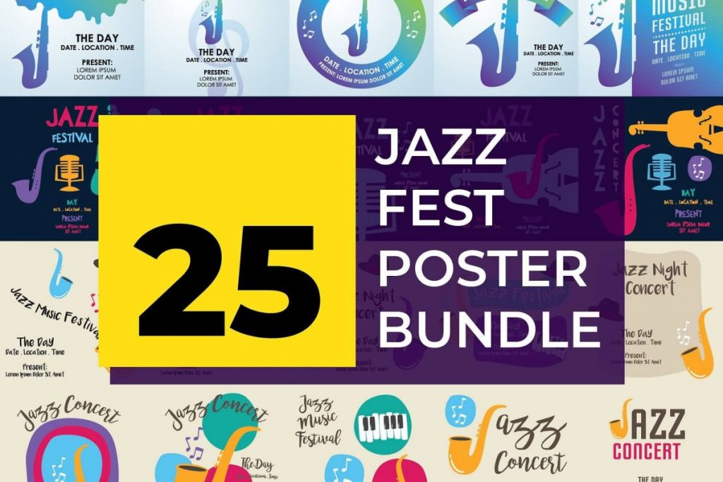 25 Artistic Illustration Poster design Template - jazz posters