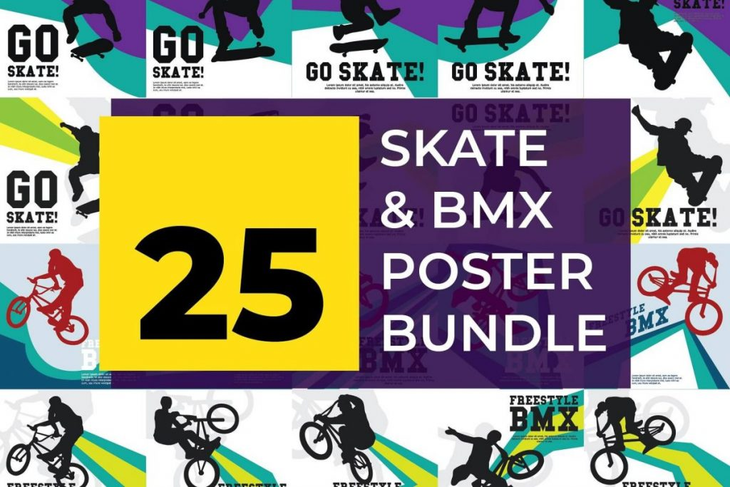 25 Artistic Illustration Poster design Template - skate poster