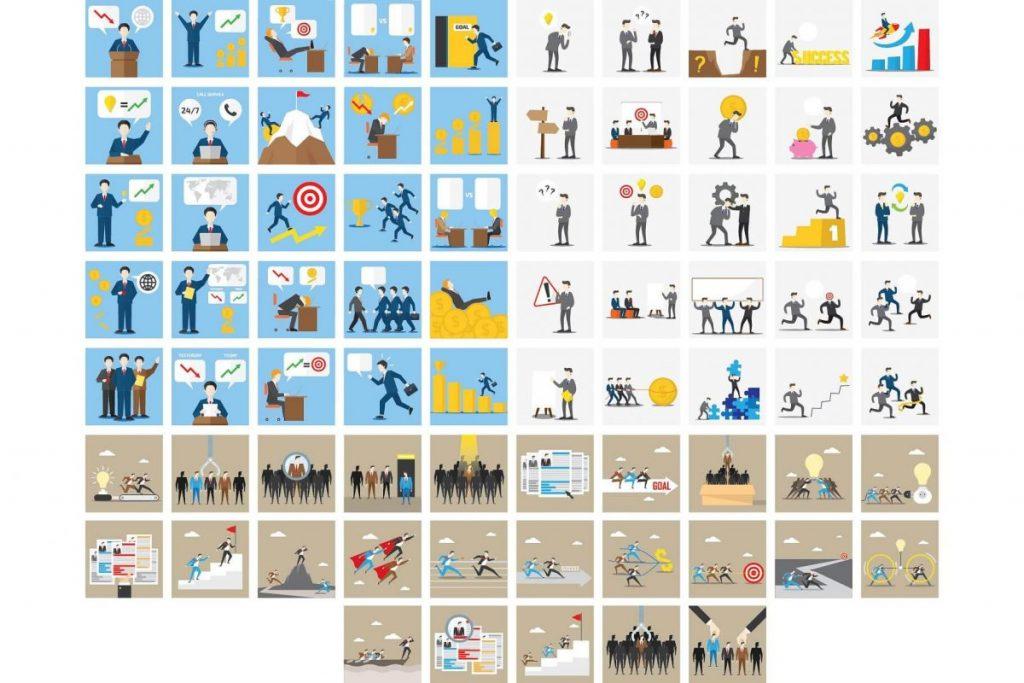 Flat Design Business clipaart Illustration Set