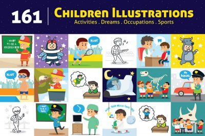 Kids Activities Clipart Bundle - cover