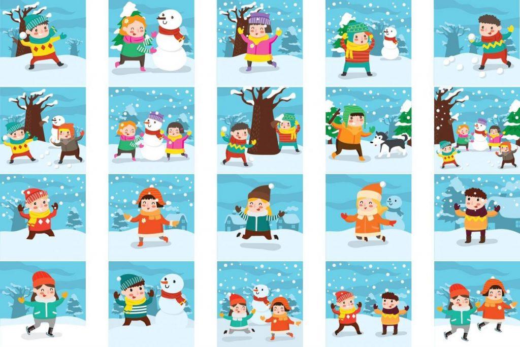 Lovely Winter Clipart Bundle - kids activities in winter
