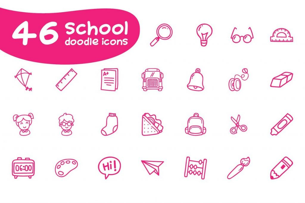 Ultra Chic Doodle school Icon Pack