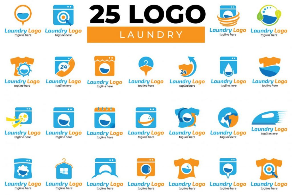 200 Dynamic & Attractive Logo Design - LAUNDRY Sign BUNDLE