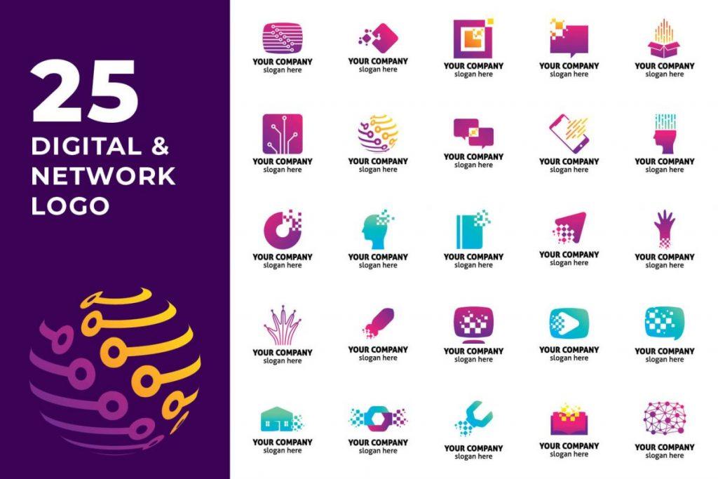 200 Modern Logo Design Collection Pack - DIGITAL AND NETWORK LOGO