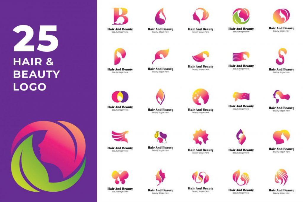 200 Modern Logo Design Collection Pack - HAIR & BEAUTY LOGO