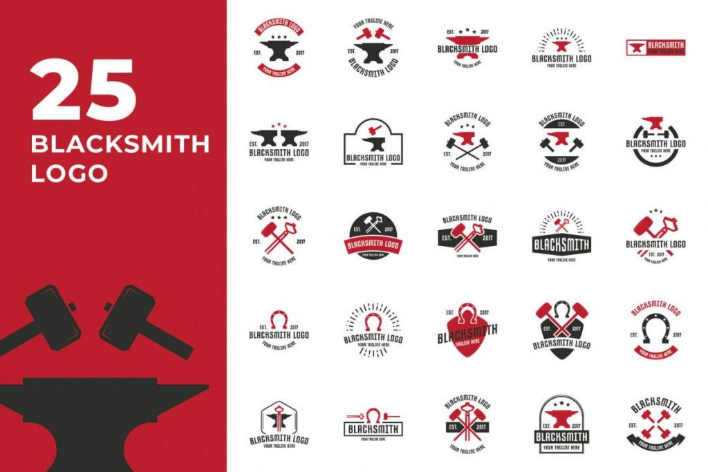 210 Cool & Creative Logo Design Bundle - BLACKSMITH LOGO