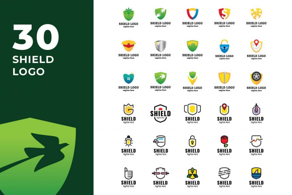 210 Cool & Creative Logo Design Bundle - SHIELD LOGO