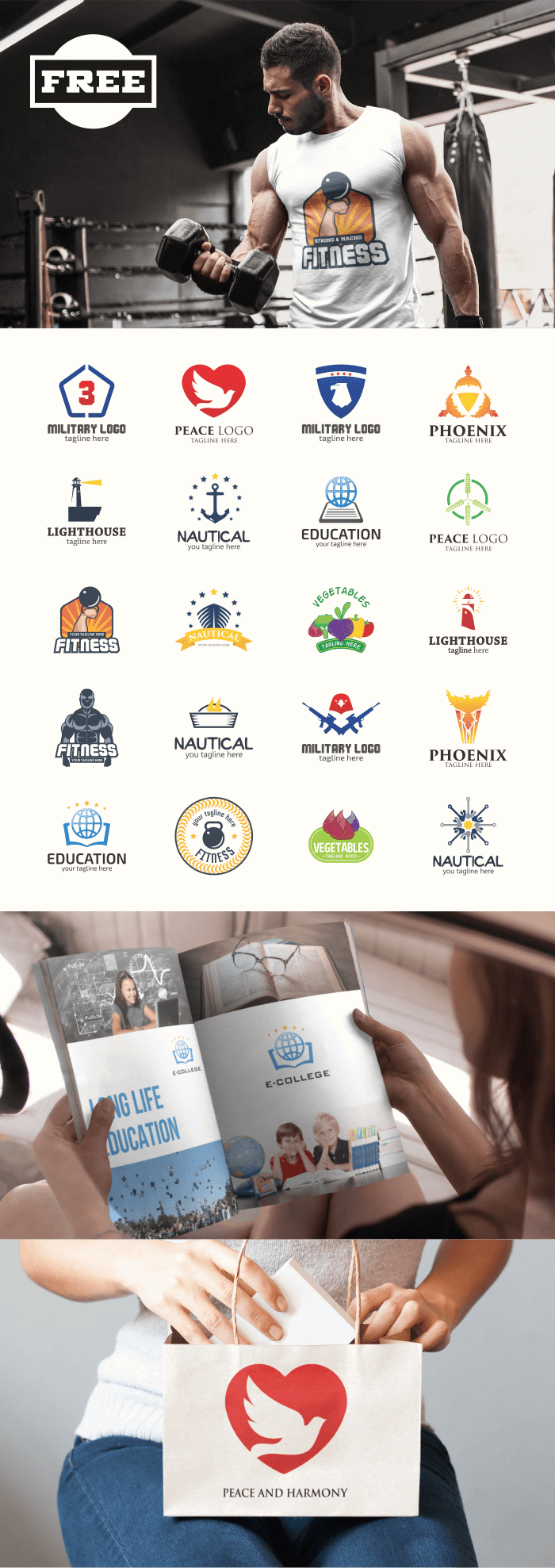 FREE - 200 Professional Branding Logo Design Collections