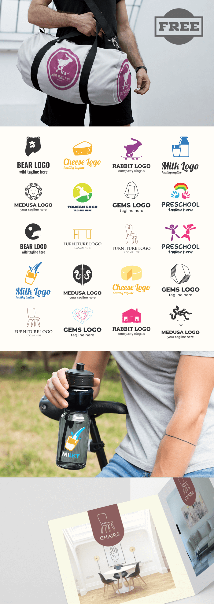 FREE - 20 Vibrant Logo Template Collection