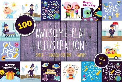 Free Clip Art - 100 Flat Illustration Bundle - cover