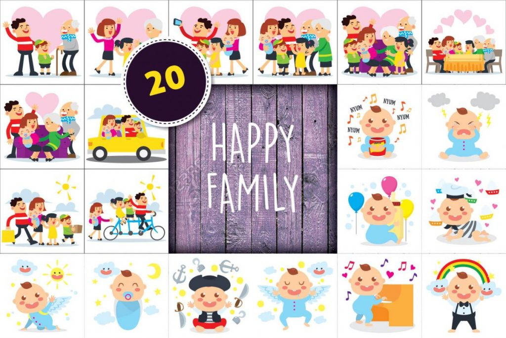 Free Clip Art - 100 Flat Illustration Bundle - happy family