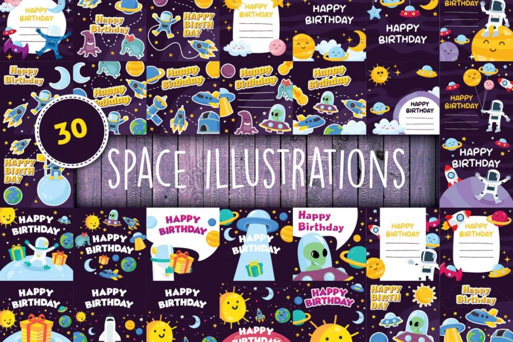 Free Clip Art - 100 Flat Illustration Bundle - space