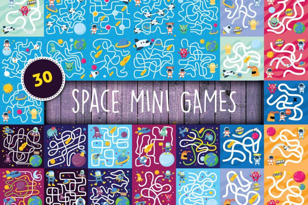 Free Clip Art - 100 Flat Illustration Bundle - space game