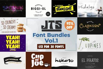 justthe skills font bundle volume 1 : 30 fonts bundle