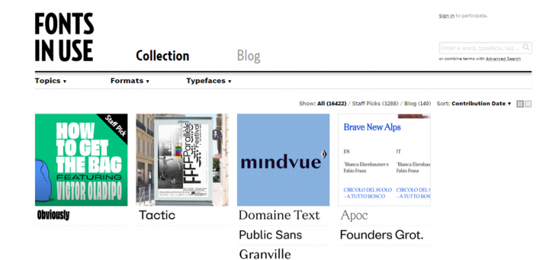 fonts in use homepage