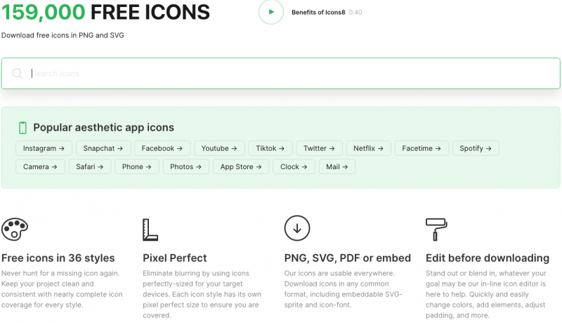 icons8 homepage